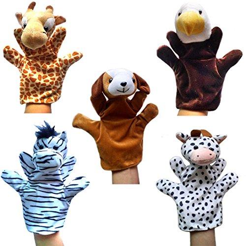 Happy Cherry - Lot de 5 Types Différents Marionnettes à Main - Cheval / Serpent / Loup / Poulet / Porc - Jouets en Peluche pour Enfant Bébé (Style 2)