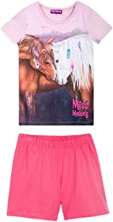 Miss Melody Niña Ropa de Dormir, Pijama: T-Shirt, Camiseta y Short, Rosa