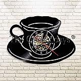 コーヒーOclockビニール時計コーヒーマグカップクールコーヒーショップの壁アートキッチン装飾的な壁掛け時計