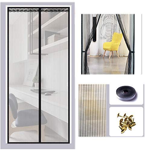 Xervg Wohnzimmer Türvorhang Anti-Mücken-Haushaltsmagnet für saugfreies Stanzen-180 * 220 cm_schwarz