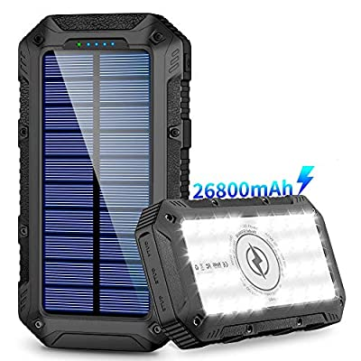 Solar Charger,26800mAh Power Bank,Portable Charger,Wireless Solar Panel with 3 USB Outputs and 28LEDs Flashlight External Battery Pack High Capacity Phone Charger for Camping Outdoor for iOS Android