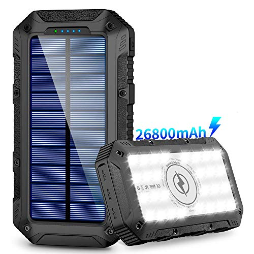 Solar Charger 26800mAh, Power Bank,Portable Charger,Wireless Solar Panel with 4 Outputs and 28LEDs Flashlight External Battery Pack High Capacity Phone Charger for Camping Outdoor for iOS Android