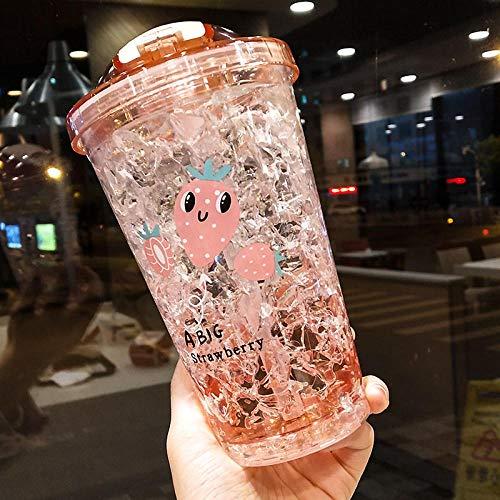 Doble pared brillo estrella estrella bebida taza con tapa de gradiente espacio beber botella de plástico verano taza de agua para cocina de dormitorio 400ml-Fresa rosa