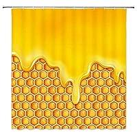 JOOCAR 黄色い蜂蜜の幾何学模様フック付きシャワーカーテン生地バスルーム装飾耐久性のある防水生地バスルームカーテン 165cm x180cm