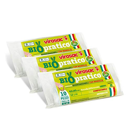 Virosac - Biopratico - Sacchetti per rifiuti biodegradabili 42x45, con maniglie estraibili, 10 pezzi per rotolo, kit da 3 rotoli