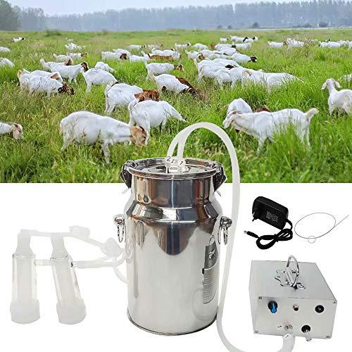Melkmaschinen-Kit für Ziegenschafkuh Tragbare elektrische Melkmaschine mit 2 Zitzenbechern, 5 l / 7 l / 14 l Milchbehälter mit einstellbarer Vakuumpumpe
