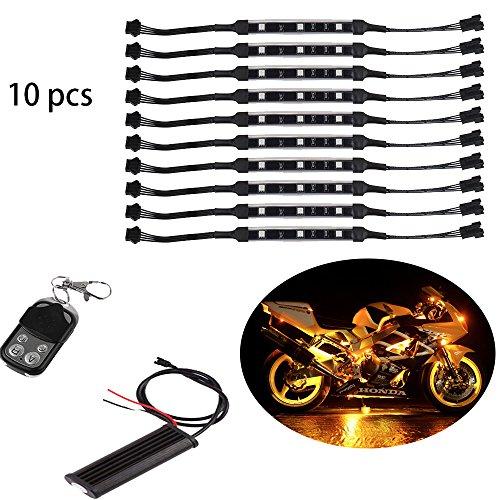10pc led motorcycle light kit million color flex strip motorrad unterboden LED neon light