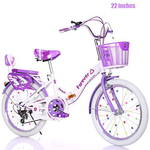 Fahrrad 22 Zoll Mädchen Fahrrad 8-14 Jahre Altes Kinderfahrrad Geeignet Für 140-160cm Sicher Und Stabil, Faltbar Und Leicht Zu Tragen (Variable Geschwindigkeit)
