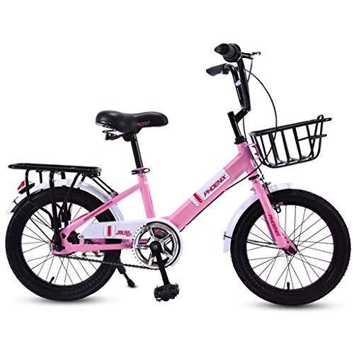 Bxiao Kinderfiets, 16 inch, meisjes basisschool auto 6-7-8-10-15 jaar oud, mannelijk en vrouwelijk kinderwagen, metalen mand, dikke banden