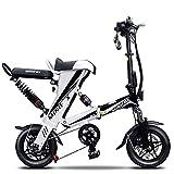 LOVE-HOME Bicicletas Plegables Eléctricos para Adultos, 12 Pulgadas Mini Portátil De Doble E-Bici con 36V / 350W De Iones Litio, Bicicletas Inteligente Ecológica para Conducción Urbana,Blanco,50KM