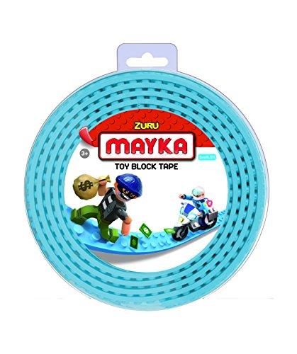 Mayka 34654 - Klebeband für Lego Bausteine, 2 m selbstklebendes Band mit 4 Noppen, leuchtblaues Bausteinband, flexibles Noppenband zum Bauen mit Legosteinen für Kinder ab 3 Jahre, wiederverwendbar