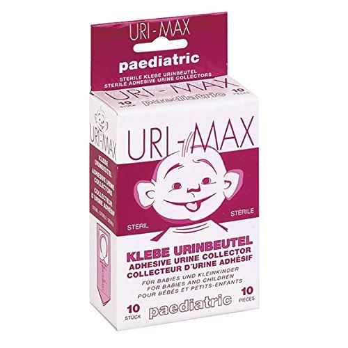 URI-MAX Bolsas de orina adhesivas estériles (10 unidades) para niños, bolsas de orina para viajes, viajes o laboratorio, adhesivos para colectores, para uso paediatric