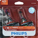 Philips Automotive Lighting H11 X-tremeVision Upgrade Headlight Bulb with up to 100% More Vision, 2 Pack, white (12362XVB2)