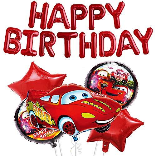 JAHEMU Fiesta de Cumpleaños para Auto Suministros para Niños con Tema de Vehículo Feliz Cumpleaños Banner Rojo Globos de Aluminio para Auto, Fiesta de Cumpleaños Decoración- 6 Piezas