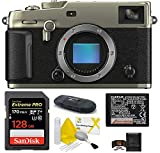 Fujifilm X-Pro3 Mirrorless Digital Camera Body Bundle, Includes: SanDisk 128GB Extreme PRO SDXC Memory Card + Spare Battery + More (6 Items) (Dura Silver)