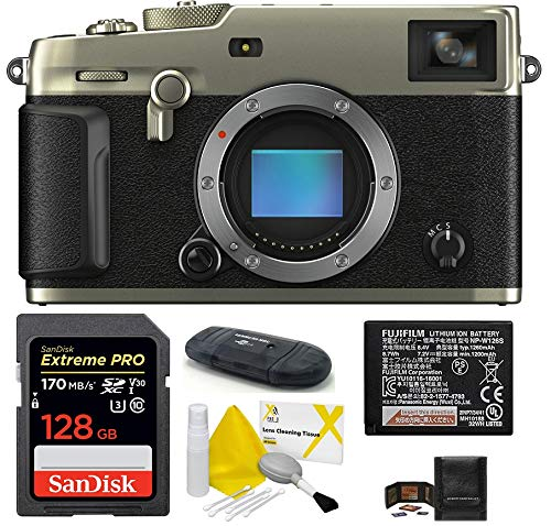 Fujifilm x-pro3 mirrorless digital camera body (dura silver) bundle, includes: sandisk 128gb extreme pro sdxc memory card + spare battery + more (6 items)