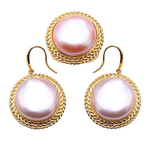 JYX Damen Ring und Ohrringe 18 Karat Gold 19,5 mm Pink Mabe Perle