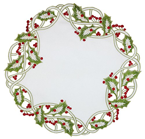 Xia Home Fashions Holiday Holly Embroidered Cutwork Round Doily, 16-Inch, White, Set of 4