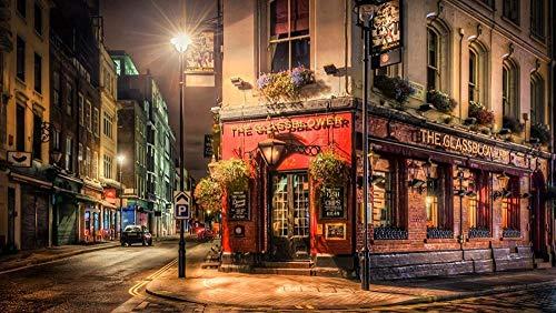 Pintura por números para niños y principiantes kit de pintura pintura acrílica de alta calidad pintura al óleo (sin marco) - london night cafe lamp street