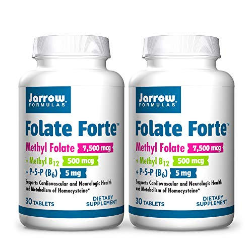 Jarrow Formulas Folate Forte - 30 Tablets, Pack of 2 - Energy Support & Metabolism - Brain, Heart & Cardiovascular Health - Includes Methyl Folate, Methyl B12, and P-5-P - 60 Total Servings