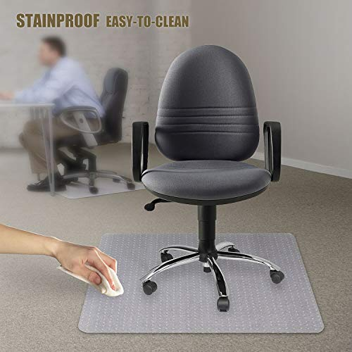 Kuyal Office Chair Mat for Carpets,Transparent Thick and Sturdy Highly Premium Quality Floor Mats for Low and Medium Pile Carpets, with Studs (36