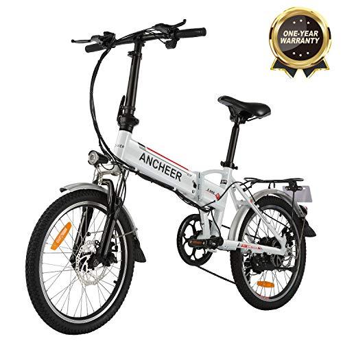 """Bicicletta Elettrica Pieghevole, Bici al Lavoro, E-Bike -Fold 20""""/26"""", Adulto, 250W Batteria 36V 8Ah, Cambio Shimano a 7 velocità (20 Bianco Pieghevole)"""