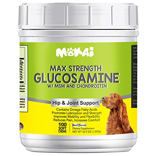 MOKAI Max Strength Glucosamine with MSM Chondroitin and Omega Fatty Acids for Dogs | Supports Healthy Hip and Joints by Relieving Pain Promoting Lubrication and Improving Mobility (100 Soft Chews)