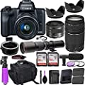 Canon EOS M50 Mirrorless Camera (Black) w/M-Adapter & Canon Lenses - EF-M 15-45mm f/3.5-6.3 is STM and EF 75-300mm f/4-5.6 III + 500mm Preset Telephoto Lens + Deluxe Travel Accessory Bundle from Paging Zone - Canon Intl.