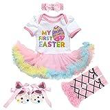 Newborn Baby Toddler Girl 1st Easter Rabbit Romper Tutu Dress+Headband+Leg Warmers Shoes Outfits 3pcs/4pcs Cotton Clothes Set 4pcs White Eggs Sets 0-3 Months