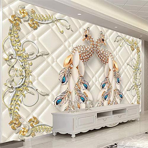 Benutzerdefinierte 3D-Wandbild Pfau Schmuck Im Europäischen Stil Luxus Tapete Wohnzimmer TV Sofa Hintergrund Wanddekoration