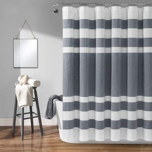 Lush Decor Cape Cod Cotton Shower Curtain, 72 Inches x 72 Inches, Navy and Taupe