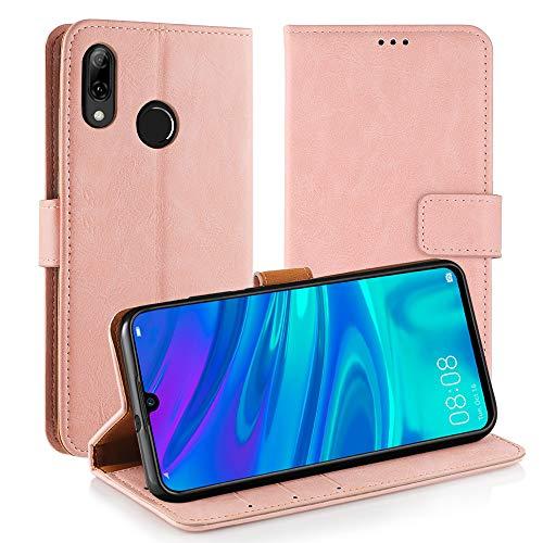 Simpeak Funda Compatible con Huawei P Smart 2019 / Honor 10 Lite, Funda Libro Compatible con Huawei P Smart 2019 Carcasa Soporte Plegable/Ranuras Compatible con Tarjetas, Rosa