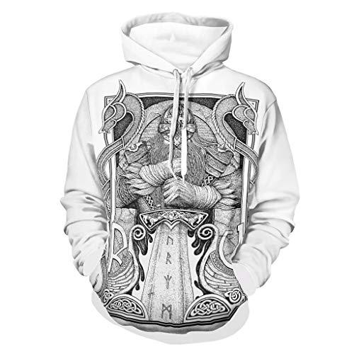 Shinelly Sudadera con capucha para hombre con diseño de espada vikinga, con dos dragones, manga larga, con bolsillos, moldeador de cuerpo y fitness blanco XL