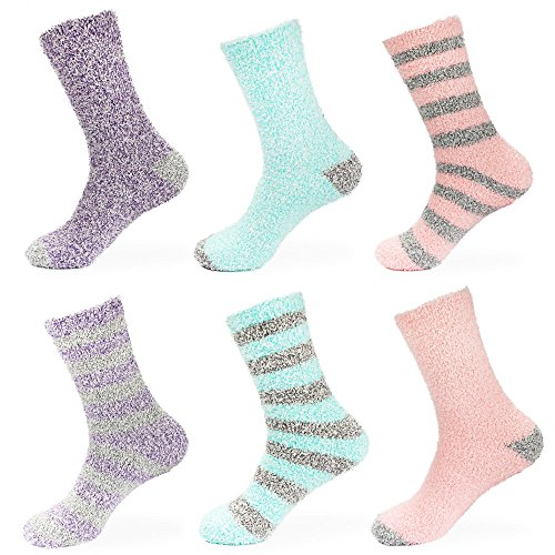 BambooMN Women's Soft Fuzzy Warm Cozy Comfy Fuzzy Plush Cute Striped Solid Slipper Socks - Assortment A - 6 Pairs