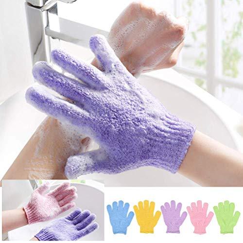 5 Stück Peeling Handschuhe Waschhandschuh für Peeling Körper Handschuhe für Herren und Damen für Dusche Körper Spa Massage Entferner Abgestorbener Hautzellen