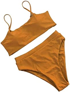 Swimming set Padded Backless Straps Bra Swimsuit Sexy Bikini Set Women Swimsuit Solid Color Bikini Waist High Swimwear YLYCUICAN (Color : Orange, Size : M)