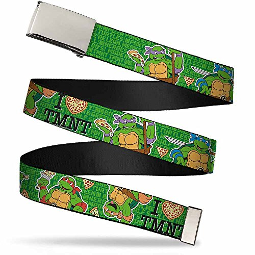 Nickelodeon Big Buckle-Down Web Belt Ninja Turtles, HEART TMNT/Classic Turtles & Pizza Green, 1.0' Wide-Fits up to Kids Size 20