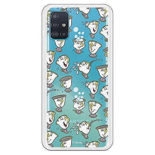Funda para Samsung Galaxy A51 Oficial de La Bella y la Bestia Chip Potts Siluetas para Proteger tu móvil. Carcasa para Samsung de Silicona Flexible con Licencia Oficial de Disney.