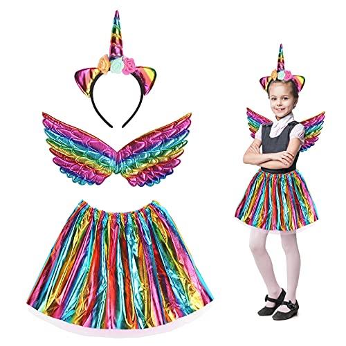 3 Pezzi Arcobaleno Costume Unicorno Bambina MEZZOM Gonna da Bambina Unicorna Halloween con Cerchietto Unicorno Vestito Tutu Gonna Ali Arcobaleno per Feste di Compleanno Halloween Party