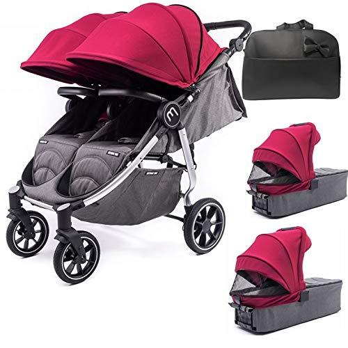 Silla Gemelar Easy Twin 4 Chasis Negro + 2 Capazos Baby Monsters Plástico de Lluvia y Barras Frontales incluidas Color Burdeos