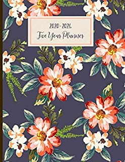 2020-2024 Five Year Planner: Monthly Schedule, Organizer, 60 Months Calendar, Personal, Agenda, Logbook, Appointment, Notebook, Journal, For The Next 5 Years. Floral, Blue, Pink.