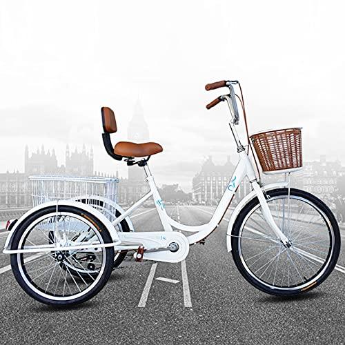24 Zoll Erwachsenen Dreirad, Dreirad-Cruiser-Fahrrad, Advanced Shopping Fracht Dreirad, Alte Leute, die Fahrräder radeln, Einkaufskorb und vorderem Autokorb, für ältere Menschen/Damen/Männer