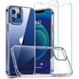 SAMKE iPhone Clear Case and 6.1 in Tempered Glass Screen - Compatible with iPhone 12/12Pro 6.1 inch, 2 Pack Tempered Glass Protector, Lightweight Slim Shockproof Hard Heavy Duty Protection Phone Cases