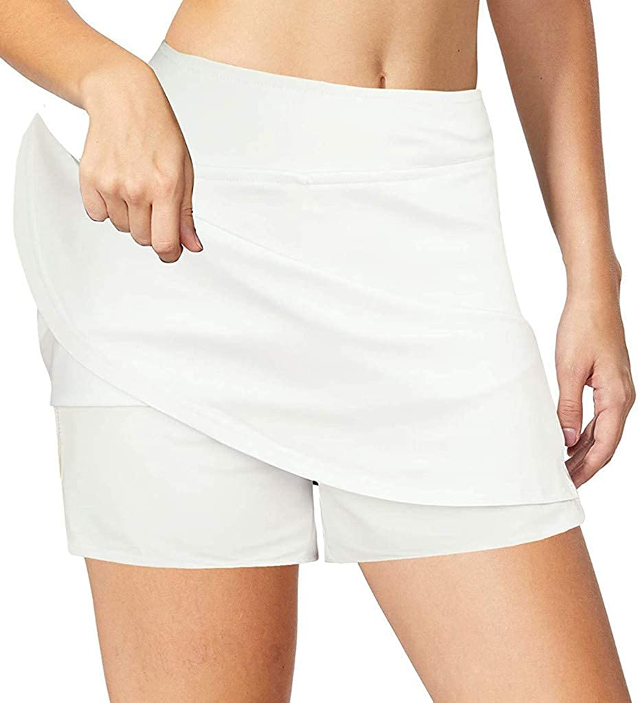 Liuxuelifg3 Workout Shorts for Women,Womens Workout 2 in 1 Waistband Drawstring Running Yoga Shorts with Pockets