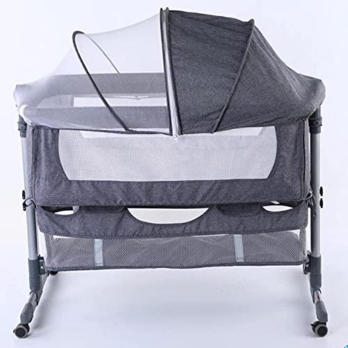 El material es cómodo, suave y seguro, el favorito Cuna de viaje, cuna móvil portátil Costura plegable grande con canasta de almacenamiento de mosquitero Bolsa de almacenamiento Cama de metal