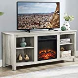 GOOD & GRACIOUS Wooden TV Stand and Electric Fireplace, Fit up to 65' Flat Screen TV with Cabinet and Adjustable Shelves Entertainment Center for Living Room, Light Grey