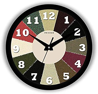 E Deals Printed Wall Clock 10 Inches Round Shaped Designer Wall Clock with Glass for Home/Living Room/Bedroom/Kitchen/Office (Silent Movement, Black Frame) | Small PWC-233
