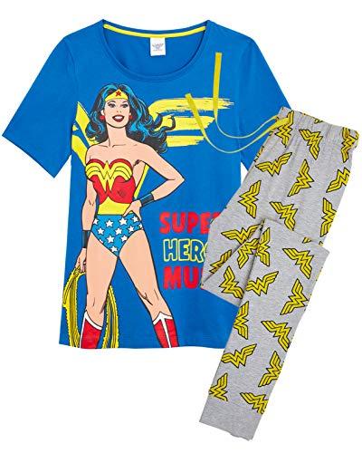 DC Comics Wonder Woman Pyjama, zweiteiliges Nachtwäsche mit T-Shirt und Langer Hose, 100% Baumwolle, herrlicher Ruf Frauen (Wonder Woman Blue, S)