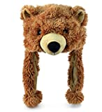 "Puzzled 16"" Soft Grizzly Bear Plush Hat Cozy Party Costume Head Accessories, Bear Hat Plushie, Wild Animal Toy, Funny Beanie Stuffed Animals Hat, Warm Fleece Crazy Hats, Kids Winter Hat - One Size"