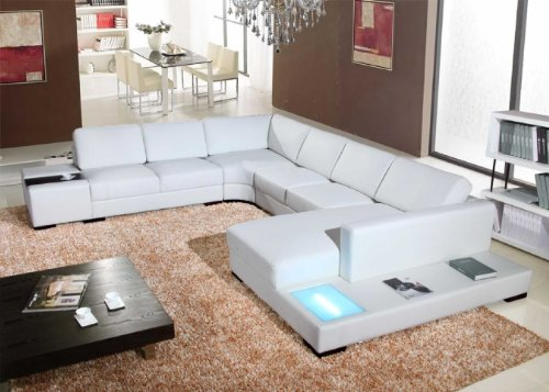 Vig Furniture 2242 White Bonded Leather Sectional Sofa